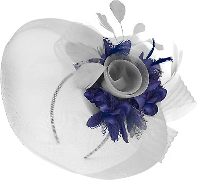 Feather Flower Fascinator Hat Veil Net Headband Clip Ascot Derby Races Wedding