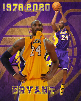 Los Angeles Lakers Lithograph print of Kobe Bryant 1978-2020 16 x 20