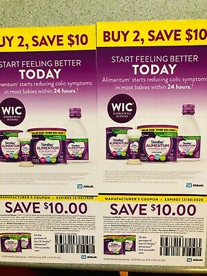 Similac Alimentum Coupon 4 $20Coupons, Exp on 12/30/2020