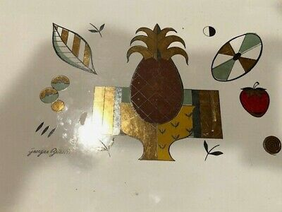 Georges Briard 15 1/2 Inch Mid Century Enameled Bar Tray Abstract Pineaplle Gold