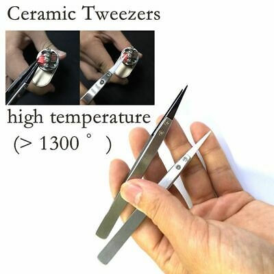Non-Conductive Metal Tweezers Black/Silver Ceramic Pointed Tips Forceps/Pliers