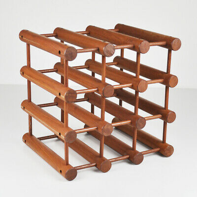 Nissen Langaa Denmark - Teak Wine Rack - Bottle Rack - Holder for 9 Bottles