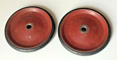 "Set of 2 Vtg Cart/Wagon Wheels Metal Rims Hard Rubber Tires 4.5"" X 1/2"" 3/8"" Ax."