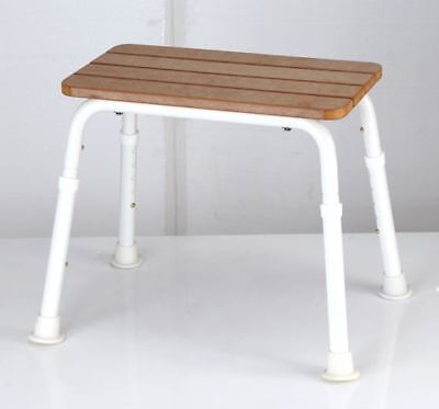 Realistic Faux Timber Shower Stool - Height Adjustable, Lightweight, Non-Slip