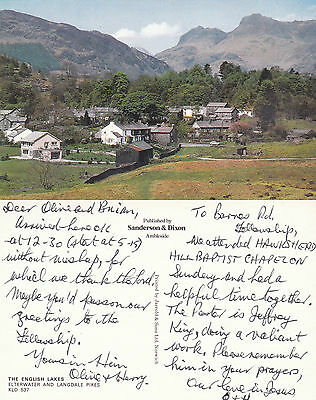 1980's ELTERWATER & LANGDALE PIKES LAKE DISTRICT CUMBRIA COLOUR POSTCARD