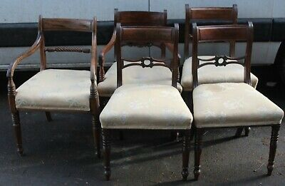 1910 Set 5 Mahogany Bar Back Dining Chairs with Pop Out Seats 4+1 Carver