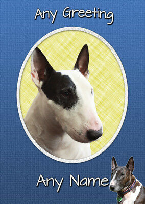 ENGLISH BULL TERRIER EBT CHRISTMAS CARD Personalised /& Illustrated inside A5