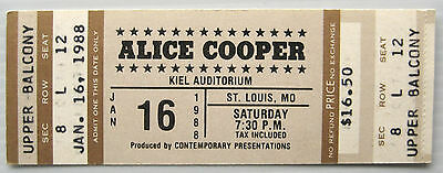Alice Cooper UNUSED ticket from 1988, St. Louis