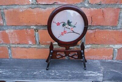 Vintage Oriental Decorative Ornament, Handmade Embroidery Birds in Wood Stand