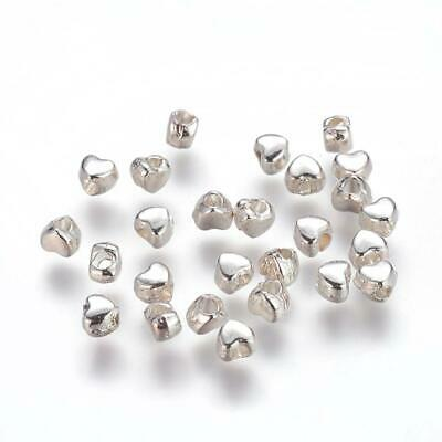 50pcs Silver plated heart shape small spacer beads 3.5x4mm jewellery making