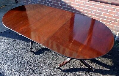 Edwardian antique solid mahogany twin pedestal extending dining table seats 8-10