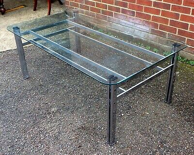 Vintage 1960s midcentury Pieff chrome heavy glass coffee side occasional table
