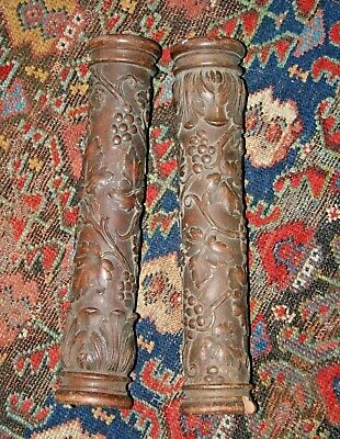 Antique Architectural Columns Hand Carved Post Wood Carving Fragment