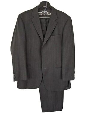 Hugo Boss Mens 42R (35x28) 100% Wool Charcoal Striped 2 Button Suit