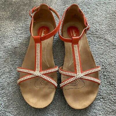 Details about CLARKS RAFFI PARTY BLUE WHITE GENUINE LEATHER SANDALS WOMEN UK 3.5