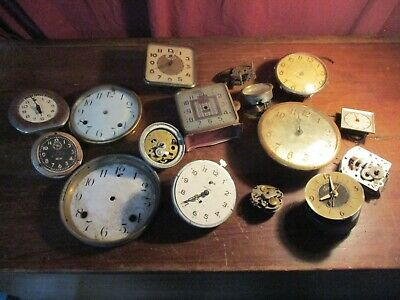 Lot Of 16 Vintage Alarm Shelf Clocks Parts. Mechs, Faces Ect Steampunk Upcycle