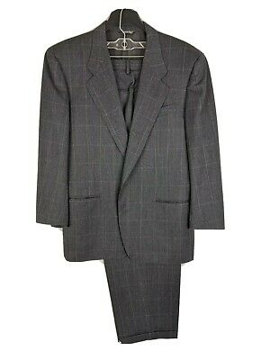 Canali Proposta Mens 44R (35x29) 100% Wool Charcoal Windowpane 2 Button Suit