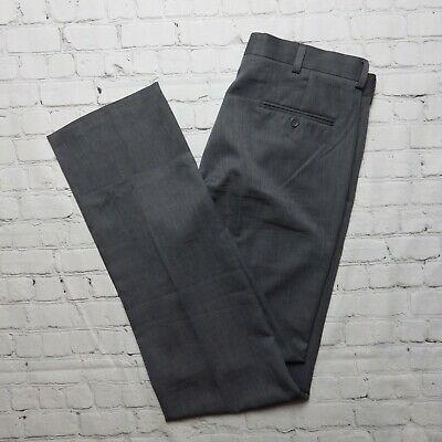 Men's Kenneth Cole Reaction Gray Flat Front Polyester Dress Pants 34 x 34