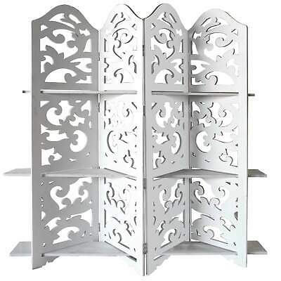 Hand Carved Four Panel Wooden Room Divider with Shelving Unit, White