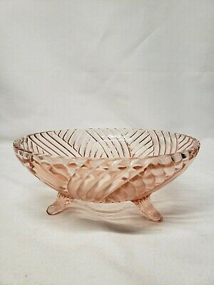 Pink Depression Glass 3 Footed Spiral Optic Swirl Pattern Bowl  / Dish  8 1/2""