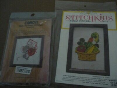 """Mouse"" And ""Vegetable Basket"" - 2 X Crewel Embroidery Kits"