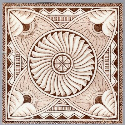 Steele & Wood Tile Co - c1885  Brown Aesthetic Abstract - Antique Victorian Tile