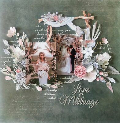 "Handmade Mixed Media 12"" x 12"" Scrapbook Page - Love and Marriage"