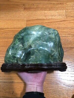 Old Chinese Spinach Jade Scholar's Rock 5.6 lbs