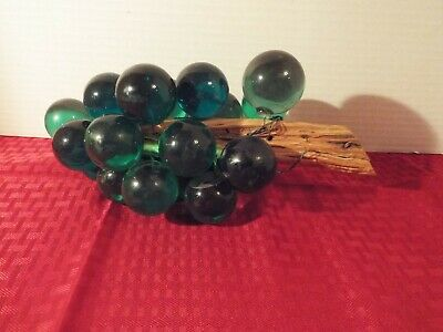 Mid Century Vintage Lucite Acrylic Grape Cluster In Green on Driftwood Retro