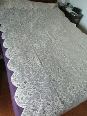 "New Vintage 116""x60"" Scranton Type lace Victorian Floral tablecloth Blend Ivory"
