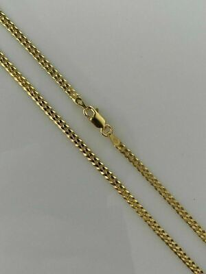 Ladies Cuban Link Chain 14K Gold Over Solid 925 Sterling Silver 3mm Necklace
