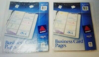 LOT of 2 - Avery 10-Pack/200 Card Slots Business Card Pages Three-Hole Punched