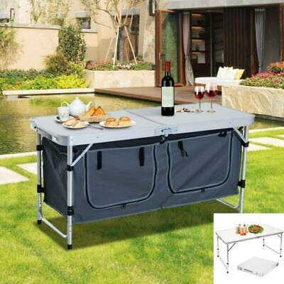 Foldable Camping Table Cupboard Aluminum Portable Adjust Outdoor Picnic Storage