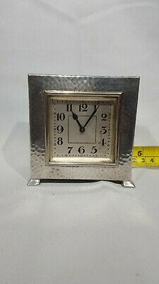 Pewter Arts & Crafts Mantel Clock Hammered Case Swiss Made Connell London