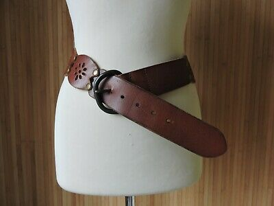 Fabulous TOPSHOP Vintage 1970's Style LEATHER BELT - Brown - Brass LINKS - Large