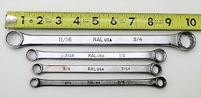 4 Piece KAL USA Double End Box Wrench 12 Point Set 11/16 thru 3/8