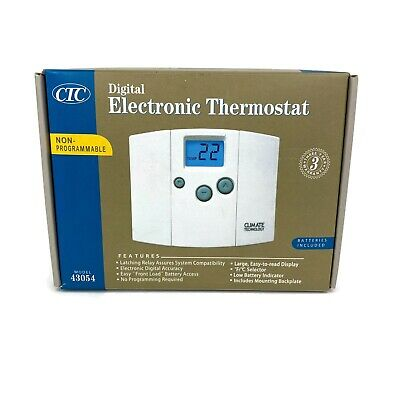 CTC Supco Digital Electronic Wall Thermostat Blue Backlight Display Model 43054