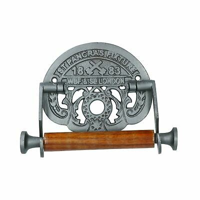 St Pancreas Toilet Roll Paper Holder Antique Style Metal Loo London Train WC