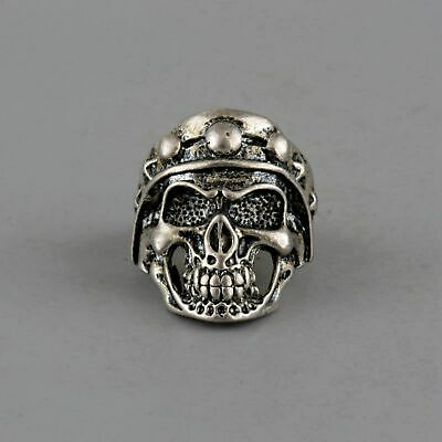 Collect China Old Miao Silver Hand-Carved Evil Skull Statue Unique Exorcism Ring