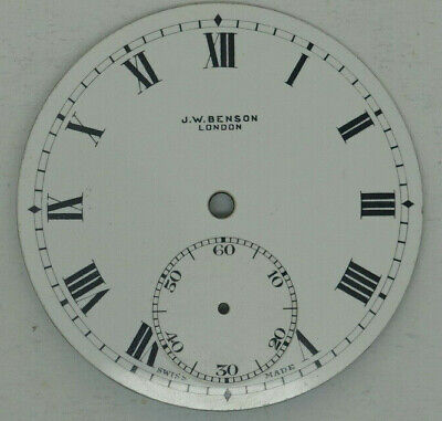Excellent J.W.Benson pocket watch dial,42.63 m.m. diameter, with feet