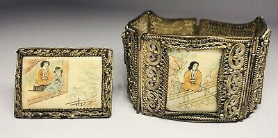 Antique 19th Century Chinese Silver Filigree Hand-Painted Scenes Bracelet & Pin