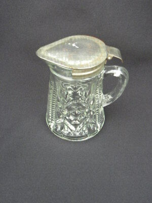 Vintage Anchor Hocking Pressed Glass Syrup Pitcher with Hinged Metal Lid