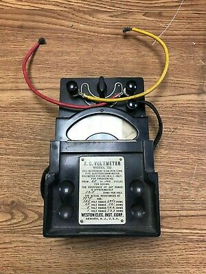 Vintage Weston Electrical Instruments AC Voltmeter Model 330 w/ original leads