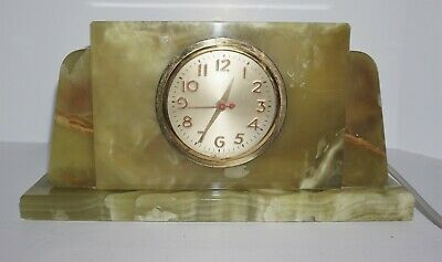 Vintage Art Deco Green Onyx Electric Mantle Clock