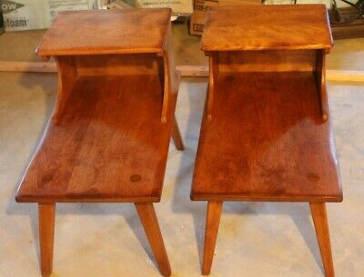 1950's Genuine Cushman Colonial Creations End Tables Mid Century Wood