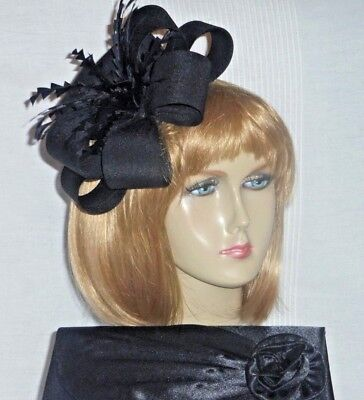 New Black Fabric Fascinator & Bag Set, Weddings Races Formal & Special Occasion