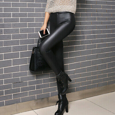 Ladies High Waist Black Faux Leather Leggings Wet Look Shiny Stretch Tight PantP