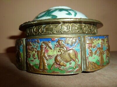 Chinese Brass,Enamel Repousse Box And Porcelain Lid With Buffalo,Figure &Dragon