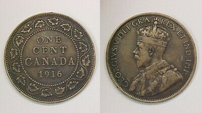 1916 Canadian Large Cent Fine - Very Fine F - VF