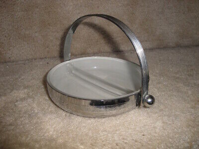 Vintage Art Deco 1920's-30's Chrome Machine Age Chase Dish With Handle !
